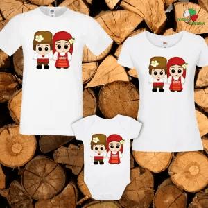 Семеен комплект - мъжка и дамска тениска и бебешко боди.