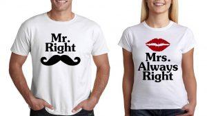 КОМПЛЕКТ ТЕНИСКИ Mr. Right and Mrs .Always Right